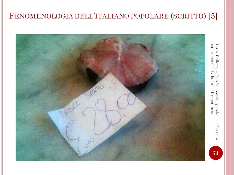 Fenomenologia dell'italiano popolare (scritto) [5]